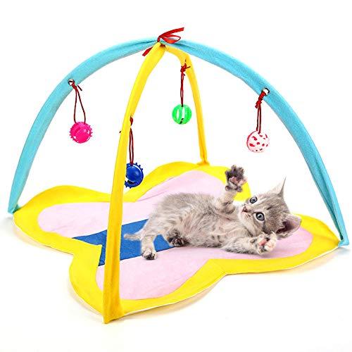 Juguete para Gatos Carpa Plegable portátil Centro de Actividades para Gatos Estera de Juegos para Gatos con Juguetes para Mascotas Colgantes Suministros de Entrenamiento Interactivo-Blanco