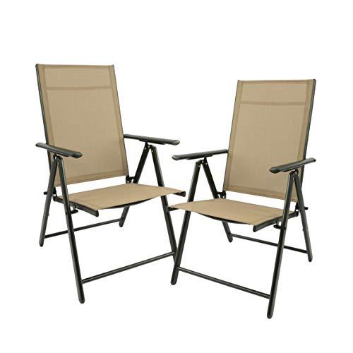 Maxx Set di 2 sedie pieghevoli da giardino, campeggio, sedie a sdraio – Sedia a sdraio – Sedia da giardino terrazza balcone – Sedia pieghevole in alluminio e plastica – Beige