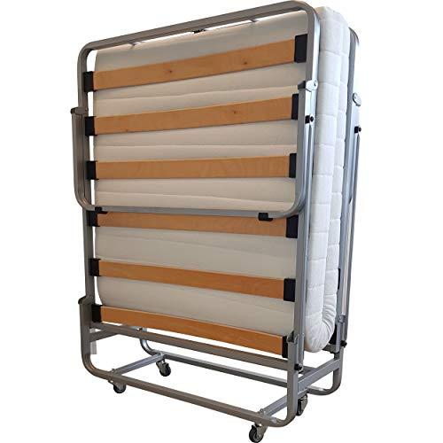 Vouwbed GB111-90x200 met lattenbodem en verstelbaar hoofdeinde - Inclusief Polyeterschuim matras en opberghoes