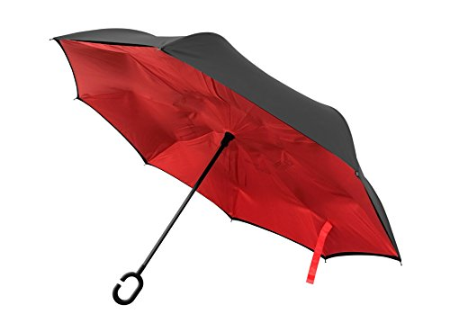 BetterBrella Windproof Double Layer Folding Inverted Umbrella, Upside-Down Rain Protection Car Reverse Umbrellas with C-Shaped Handle in Red As Seen On TV