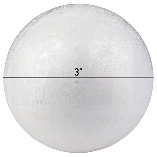Smooth and Durable 3 White Craft Foam Polystyrene Round Balls Good for Arts n Crafts by MT Products (3 Inch) (12 Pieces)