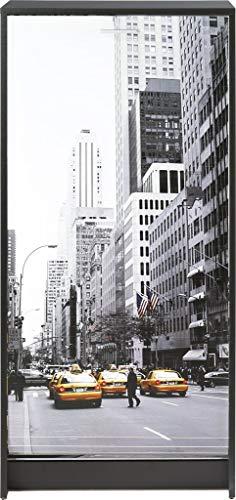 SIMMOB Meuble à Chaussures Noir Rideau Imprimé - Coloris - Scene New York 504, Bois