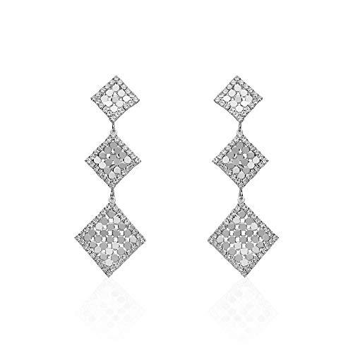 Stroili - Orecchini pendenti con rombi e strass in metallo rodiato color argento per Donna