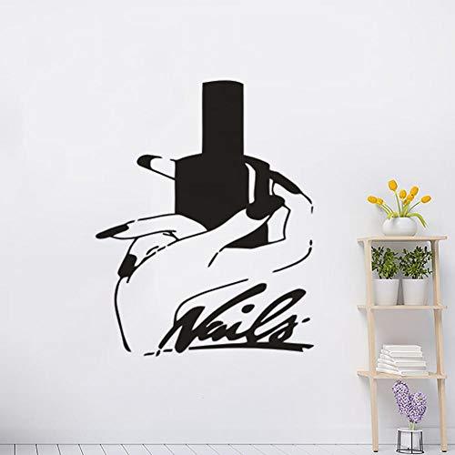 Muursticker manicure nagelkunstenaar design muursticker mooie handen met nagellak vinyl muursticker kunst nagel studio decoratie 57x72cm