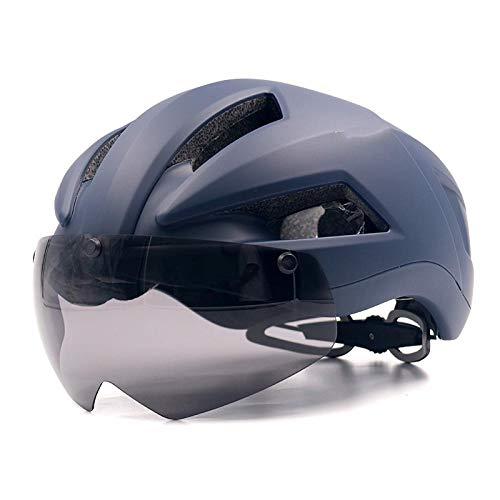 SFBBBO asco Bicicleta Casco de Bicicleta Casco de Ciclismo de Carretera Ultraligero con Lentes de Gafas Casco deBicicleta de Carretera MTBMoldeadointegralmente L Azul Oscuro