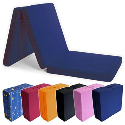 Gästebett, 195 x 65 x 8 cm, Gästematratze, Gäste Matratze, Bett, Campingbett, Reisematratze, Klappmatratze, Faltmatratze, Sitzwürfel - zusammenklappbar, faltbar, (195 x 65cm) Blau - verschiedene Farben