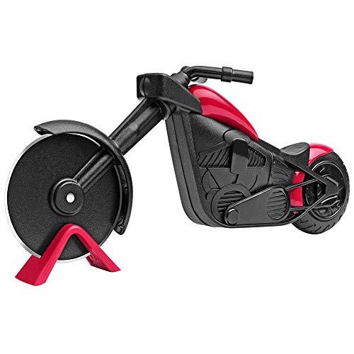 KUONIIY Motorrad Pizzaschneider, Edelstahl Kunststoff Pizzaroller, Pizzarad als schöne Dekor, Ideales Geschenk (21,5 * 8,5 cm, schwarz & rot)