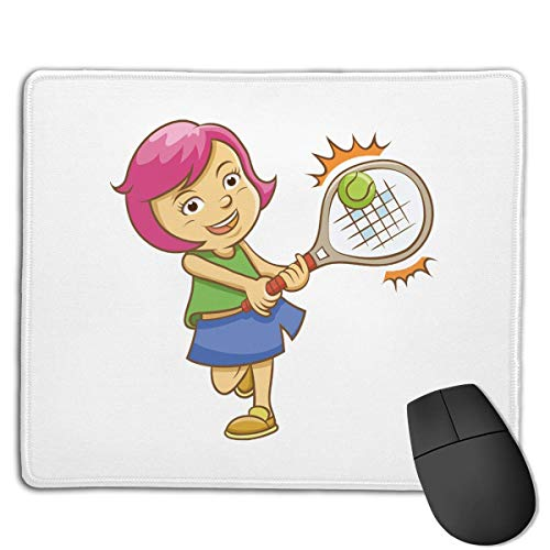 NHCY Mousepad Gaming Mouse Mat, Badminton Powder Hair Girl Print Gaming Mouse Mat Stitched Edge Office Thicker Mouse Pad