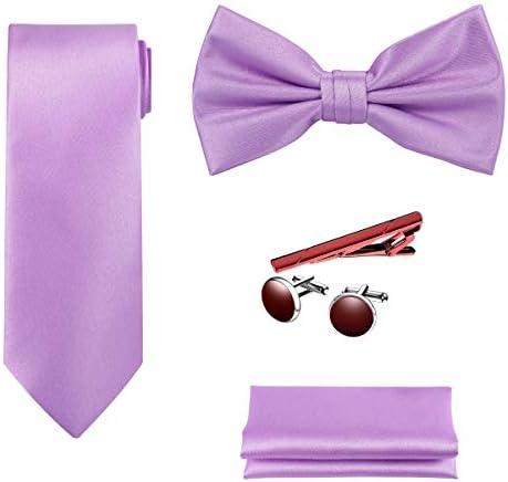TIE G 5pcs Tie Set in Premium Gift Box Solid Color Necktie Satin Bow Tie Pocket Square Tie Bar product image