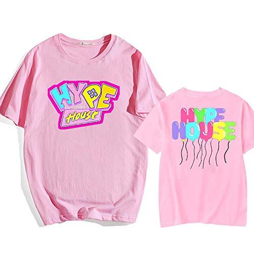 LYJNBB À Manches Courtes T-Shirts LA Maison Hype Sweat-Shirt, Pull Ronde Neck Tee pour Homme Femme Vidéo Fan Apparel,Rose,L