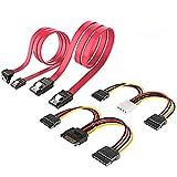 【実用性良い4個1セット】「4 Pin-デュアル 15 Pin SATA電源ケーブル」、「15 Pin- デュアル15 Pin SATA 電源ケーブル」、「SATAデータ転送用ケーブル[ストレート型]」、「SATAデータ転送用ケーブル[下L型]」、お得な合計4点セットになります。ご注意:2つの4色電源ケーブルはデータ転送は対応していません。 【SATA3.0-最大6Gbpsの転送速度】SATA 3規格対応、最大転送速度6Gb/sをサポートし、従来のSATA2(300Mb/s)に比べて、実効速度が...