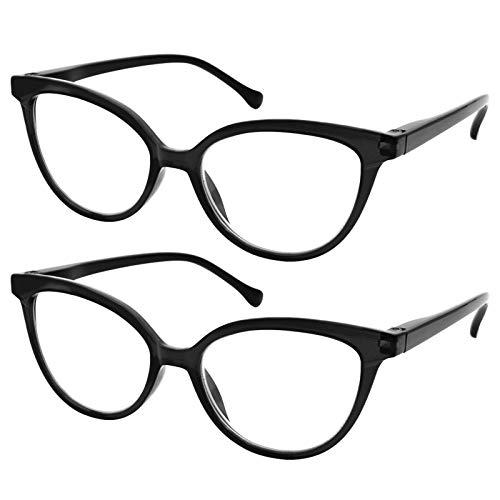 TBOC Occhiali da Vista Lettura Presbiopia - [Pack 2 Unità] Graduati +3.50 Diottrie Montature [Nera] Fashion Leggeri Quadrati da Vicino per Computer per Donna Cerniera a Molla