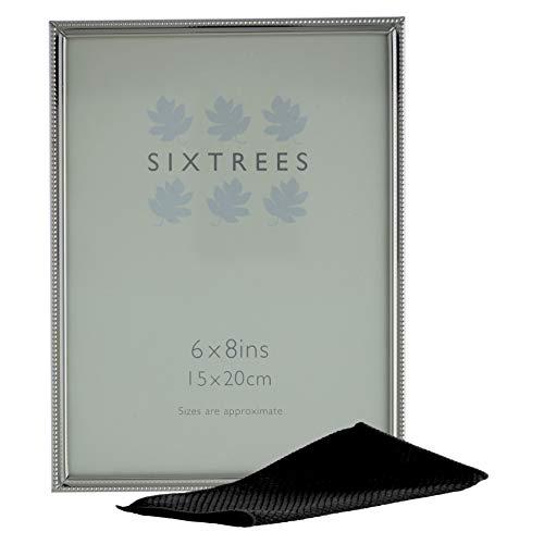 Sixtrees Bow 6-352-68 - Cornice portafoto in rilievo in argento nichelato, 20,3 x 15,2 cm, con panno in microfibra per lucidare.
