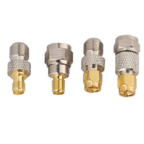 Goshyda Adaptador SMA Adaptador F a SMA Adaptador convertidor F Duradero de 4 Piezas Adaptador de latón portátil para Antenas Adaptadores de Antena Dab Cables coaxiales Escáneres de Radio