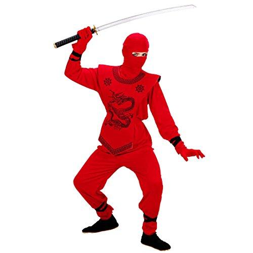 NET TOYS Déguisement Ninja Enfant en Rouge Guerrier Japonais Rouge 158 cm 11-13 Ans déguisement de Ninja Costume samouraï Combattant Asiatique