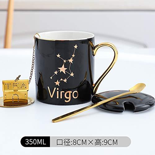 Xiaobing Taza de cerámica de 12 Constelaciones, Taza de Lujo Ligera con Tapa, Cuchara, Oficina, Pareja, Taza de café, Negro Virgo-C066