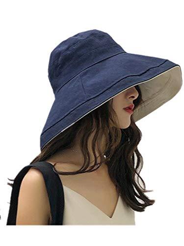Lanly Sonnenhut UV Schutz Unisex Damen UPF 50 Sommerhut Beidseitig Tragen Baumwolle Faltbar Modern mit Kinnriemen (Navy)