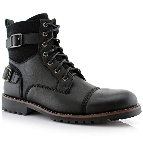 Polar Fox Patrick MPX808583 Mens Casual Cap Toe Buckle High-Top Motorcycle Work Biker Combat Boots