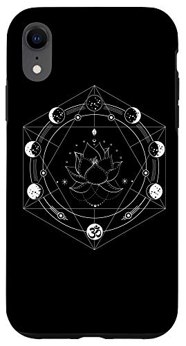 iPhone XR Black Lotus Moon Flower Phases Yoga Case