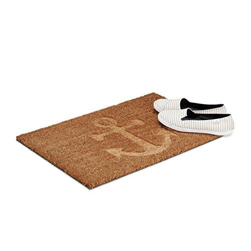 Relaxdays deurmat anker kokos, HxBxD: 1,5 x 60 x 40 cm, antislip, rechthoekig, voor huisdeur, kokosvezels, rubber, natuur