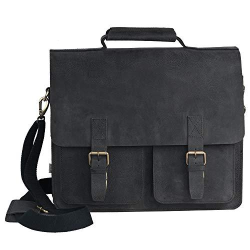 Sehr Große Aktentasche Lehrertasche Größe XL aus Büffel-Leder, für Damen und Herren, Schwarz, Jahn-Tasche 422