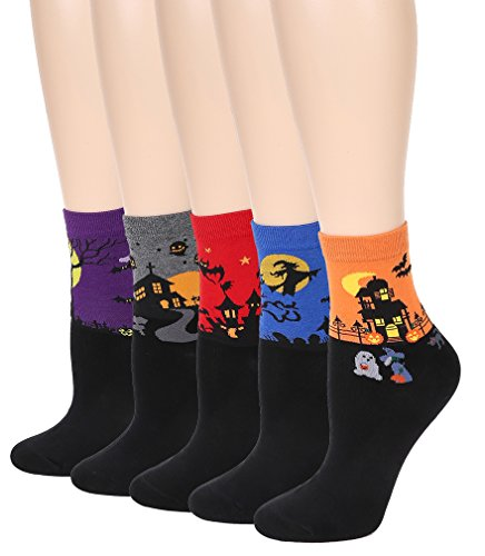 Leotruny Women's Halloween Colorful Cotton Socks 5-pack (Women shoe size:5-9, 5pairs-Multicolor)