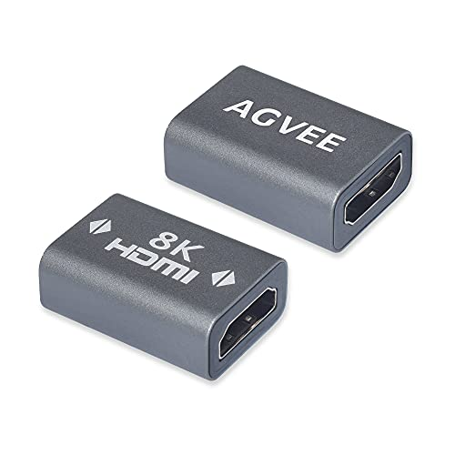 AGVEE [2 Pack] HDMI Female to Female Adapter, 8K HDR HDMI 2.1 Coulper Extension Connetor, Alloy Shell for TV Stick Roku Chromecast Nintendo Switch Xbox PS4 Laptop PC, Gray