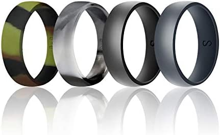 WIGERLON Mens Silicone Wedding Ring Rubber Wedding Bands Width 8mm Color Camo Pack of 4 Size product image