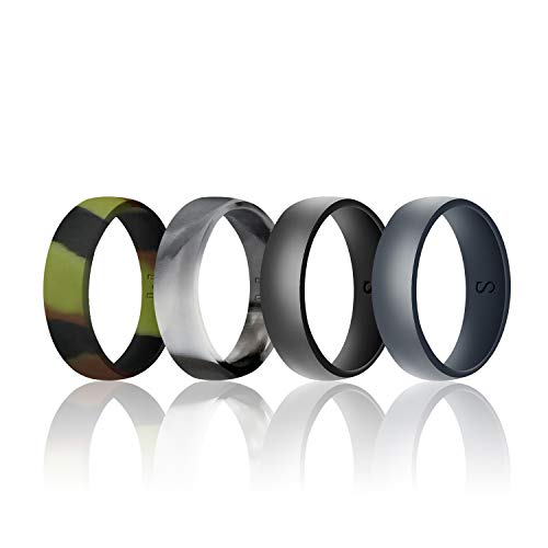 WIGERLON Mens Silicone Wedding Ring &Rubber Wedding Bands Width 8mm Color Camo Pack of 4 Size 12