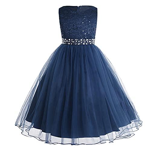 iEFiEL Mädchen Kleid festlich Lange Blumenmädchenkleider für Hochzeits Festkleid Kinder Brautjungfern Kleid 92 104 116 128 140 152 164 Marineblau 128