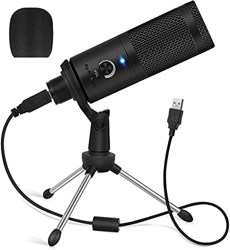 SP-Cow Micrófono USB, PC Micrófono de Condensador de metal con soporte de trípode, para Grabación en ordenadores, Estudio de grabación de cardioide, Voice Overs, Transmisión en Streaming y Videos