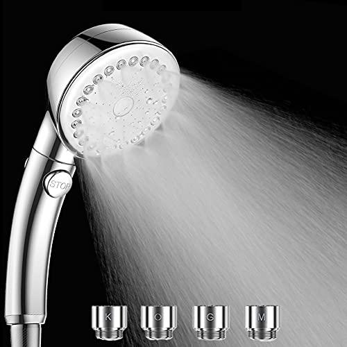 シャワーヘッド マイクロバブル 節水 シャワー 【スパレベル 多機能 シャワーヘッド リファ 】3段階モード 肌ケア 手元止水 高洗浄力 頭皮に肌に優しい 取付簡単 アダプター付 (銀色)