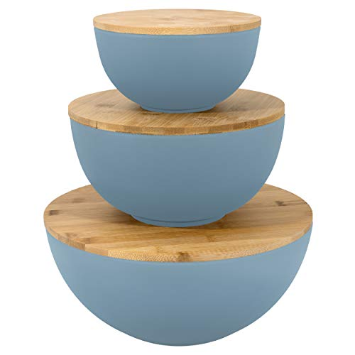 Large Salad Bowl with Lid - Set of 3 Salad Bowls with Wooden Lids, Bamboo Fibre like Melamine Mixing Bowl & Storage Set for Kitchen Use, Perfect BBQ Bowls for Outdoor Dining, Eco Friendly Serving