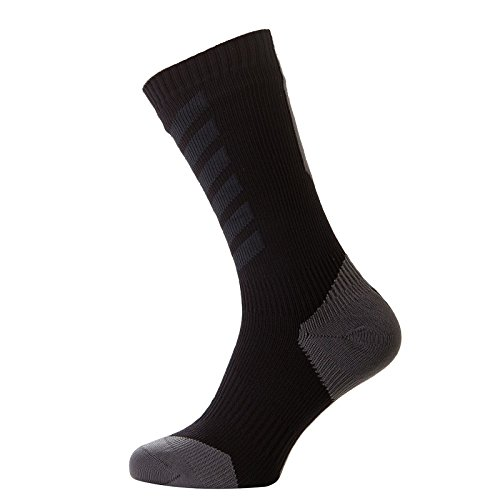 Sealskinz Unisex Erwachsene MTB Thin Mid mit Hydro Stop Socken - Schwarz (Black/Anthracite/Charcoal) , Small, 3-5 UK (36-38 EU)