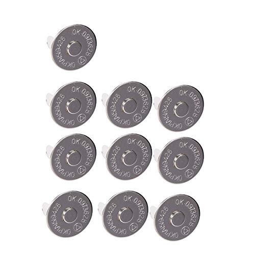 Heally - Cierres de botón de metal de cuero para ropa, chaquetas, vaqueros, pulseras, bolsas 10 piezas plata