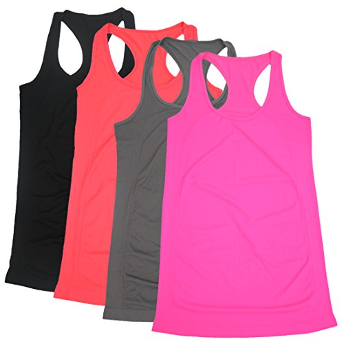 BollyQueena Women's Workout Tank Tops Maternity Nursing Racerback Long Activewear Summer Gift for Mother's Day 4 Packs XL
