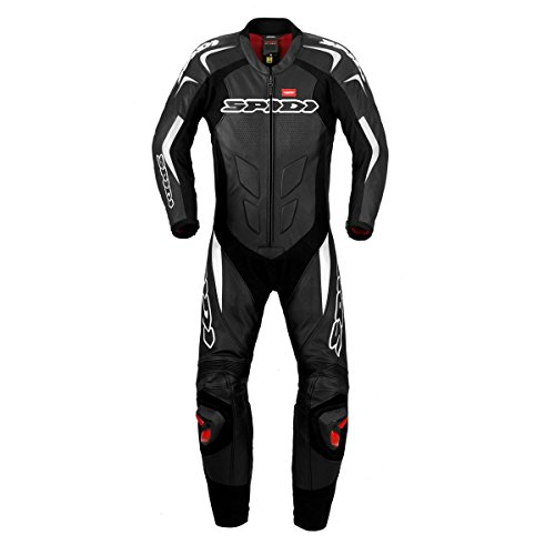 SPIDI Traje de Piel para Moto Supersport Wind Pro, Negro/Blanco, 50