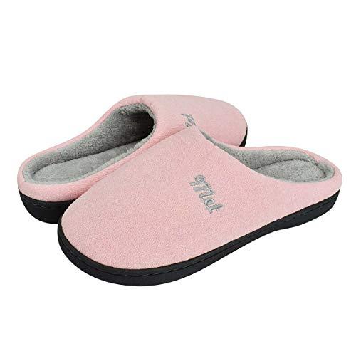 Tuopuda Hombres y Damas Caliente Zapatillas de Espuma de Memoria Zapatillas de Casa Zapatillas Mocasín con Forro Polar Zapatos de Interior Antideslizantes para Exteriores (38/39 EU, Rosado)