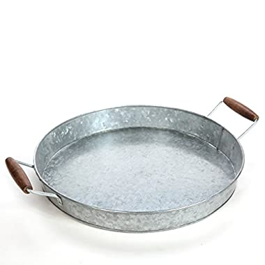 Hosley 16  Diameter, Galvanized Tray w/Wooden Handles. Ideal Gift for Wedding, Party, Serving Ware, House Warming, Home Office, Spa, Aromatherapy. O3