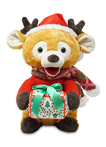 Cuddle Barn - Gifting Gabriel   Animated Singing  Talking  Moving Christmas Holiday Reindeer Stuffed Animal Plush Toy with Glowing Gift Box  Sings Jingle Bells  12 Inches