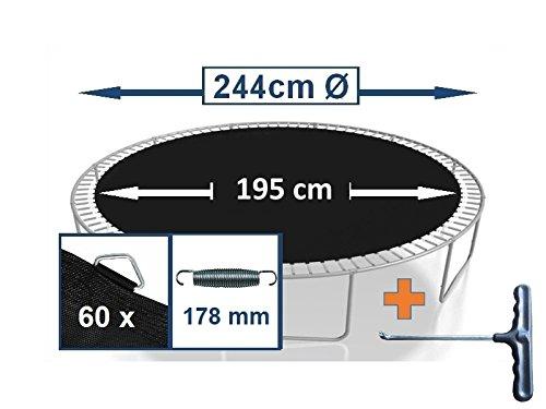 Sprungtuch Sprungmatte Ersatzteile für Trampolin Ø 244 cm 60 Ösen (Federn 17,8 cm)