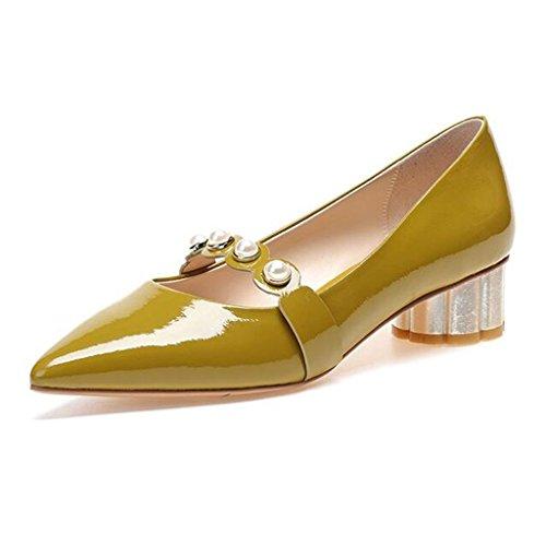 MUMA Pumps Mittlere Ferse Einzelne Schuhe Wild Lackleder Raue Fersen Frauen Schuhe Spitz Kleine Schuhe Senf Gelb Rosa (Farbe : Mustard Yellow, größe : EU36/UK4/CN36)