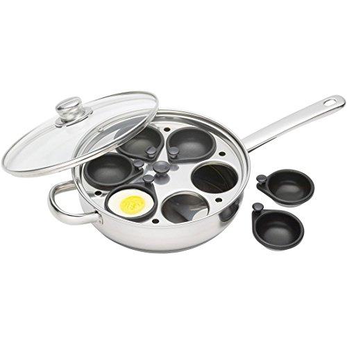 KitchenCraft Pochierpfanne für 6 Eier mit Antihaftbeschichtung, Induktionssicher, Edelstahl, 26 cm