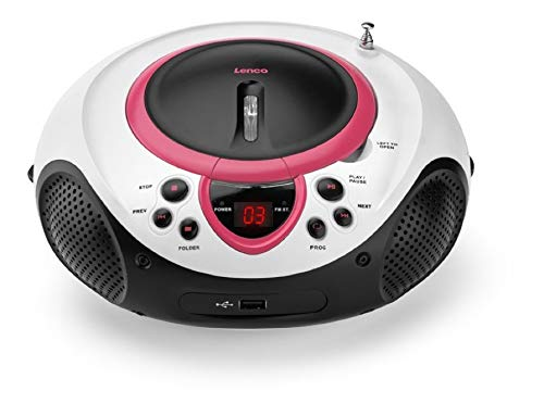 Lenco SCD-38 Tragbares UKW-Radio mit CD/MP3-Player (USB 2.0) pink