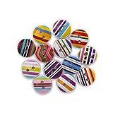 Exquisito 50 unids impresión de rayas múltiples talla múltiple botones redondos de madera coser scrapbooking ropa regalos artesanía artesanía decoración artesanal 11-18mm para ropa y decoración