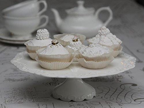 Chic Antique Tortenplatte Provence Porzellan weiß Kuchenplatte