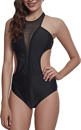 Urban Classics Damen Ladies Tech Mesh Swimsuit Badeanzug, Schwarz (Black 00007), 40 (Herstellergröße: L)