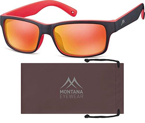 Montana Eyewear Sunoptic MS27C Sonnenbrille in schwarz+rot, inklusive Softetui