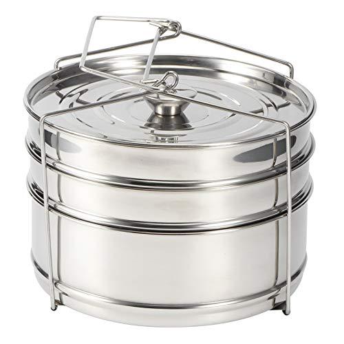 Vaporera de alimentos, olla de vapor de acero inoxidable, 3 capas, accesorios de olla a presión, olla de vapor con mango plegable para cocinar al vapor