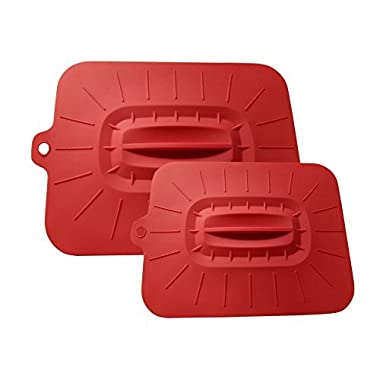 Ari+Ellie Silicone Casserole Dish Lid Cover With Suction | Oven Safe, Rectangular, Red, SET OF 2- XL- 16 x12 , L- 12 x10